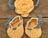 Newborn baby booties, newborn headband, baby flower headband, newborn baby shoes, blue and yellow, baby girl shoes, baby girl headband