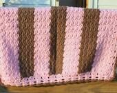 crochet baby blanket, crochet baby afghan, crochet blanket, custom made blanket, baby girl blanket, pink baby blanket, pink and brown