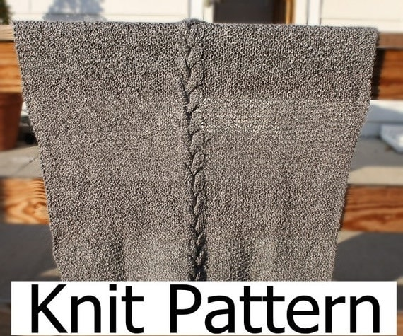 Knit baby blanket pattern - easy baby afghan pattern in gray with simple cable - instant download pdf