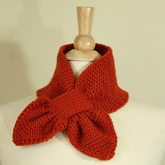 Keyhole Scarflette Knitting Pattern : Keyhole scarf knitting pattern - knit ascot scarf pattern - unique knit patte...