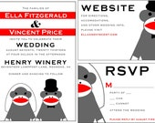 Custom Wedding Invitations and Save the Dates - Cute Stuffed Sock Monkeys Customizable Unique Graphic Design