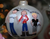 Hand painted   for LLBEAN747  family ornament stick people personalized ADORABLE