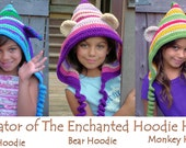 Hoodie Bear Hood Crochet Enchanted Your Choice of colors