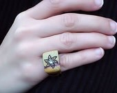 Fashion Ring Rustic Wood Flower is Burned on it by hand GO GREEN