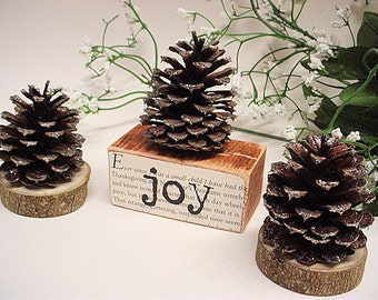Joy Peace Wood Set Pine Cone Holidays Shelf Sitter