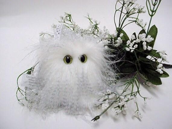 Plush Monster Fuzzy Grey White Furry Little Snowy Mugley Thing