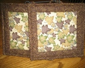 Gold, Green and Brown Leaves Pot Holders - Set of 2