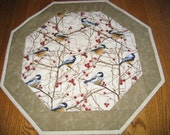 "Quilted Octagon Mat with Chickadees - 16"" diameter"