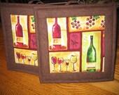 Wine Squares Pot Holders - Set of 2