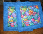 Quilted Pot Holders in Bright Easter Eggs - Set of 2