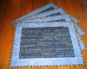 Quilted Placemats in Minnesota Words - Set of 4