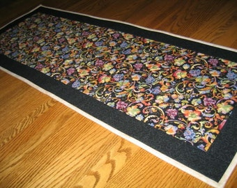 Quilted Table Runner in Grapes and Paisley