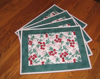 Quilted Placemats with Cherries - Set of 4 - Last 4