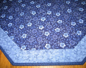 "Last One - Quilted Octagon Mat in Blue Floral - 22"" diameter"