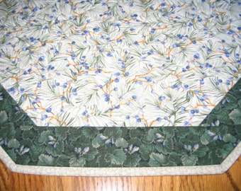 """Quilted Octagon Mat with Blueberries and Pine Needles - 22"""" diameter"""