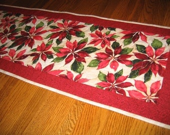 Last One - Quilted Table Runner in Poinsettias