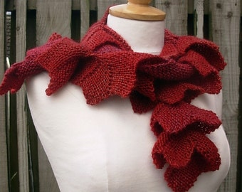 Knitted scarf scarflette spiral crimson red burgundy wool blend soft gift for her
