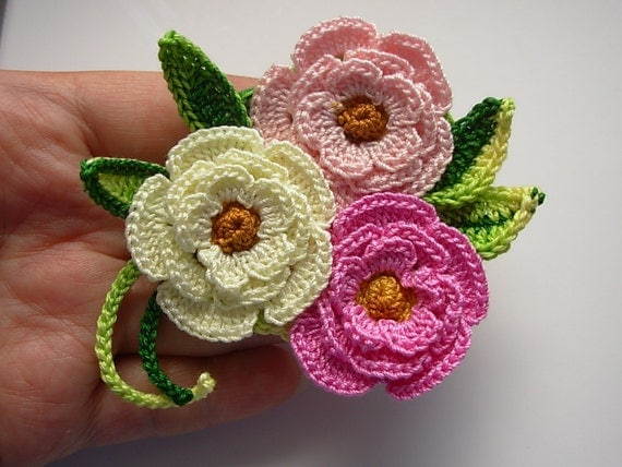 Crochet Flower Brooch Pin Cotton Floral irish rose Freeform