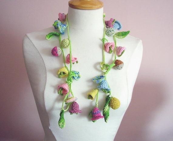 Reserved crochet necklace lariat cotton flower floral pastel colors 3d flowers
