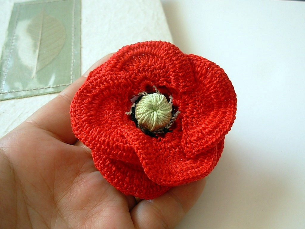 Free Crochet Poppy Brooch Pattern : Crochet red 3d poppy flower Brooch Pin Cotton Floral Freeform