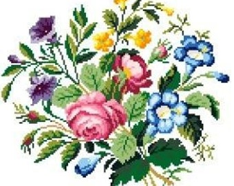 French bouquet - Cross stitch pattern. Instant download PDF