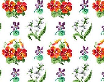 Garden blooms. Cross stitch pattern PDF. Instant download