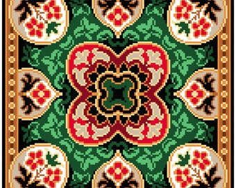 Flower rug. Cross stitch pattern. Instant download PDF.
