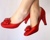 vintage Christian Dior red satin Fun and Fancy heels 6.5