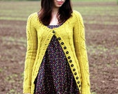 SAMPLE SALE Long Cable Cardigan With Buttons OOAK