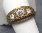 Vintage Diamante Brass Ring Mans R2010