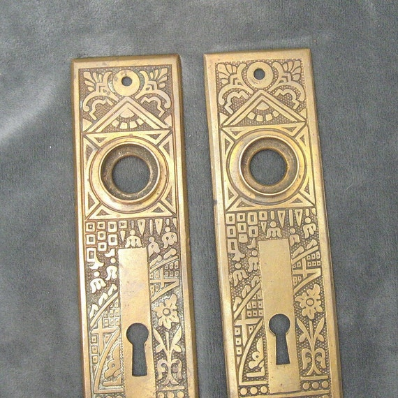 Antique Brass Door Knob Backplates Victorian Ornate Pair