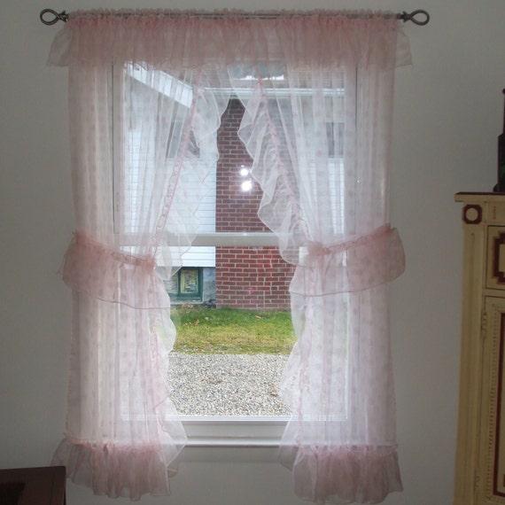 Ruffled Pink Vintage Curtains Shabby Chic Nursery