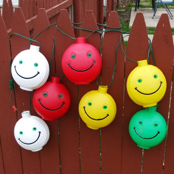 Vintage Smiley Face Patio Lights Price Reduced