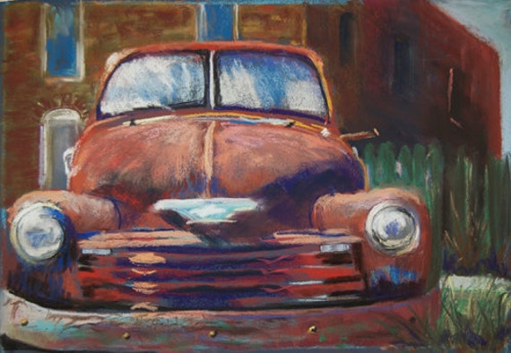 Gift Set (3) Old Chevy - Note Cards - 5 x 7 inches from my original pastel painting