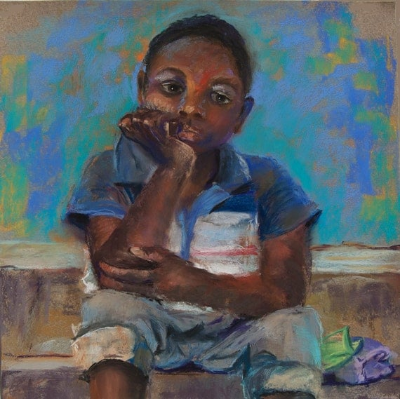 Gift Set (3) Cards, Shedrach - Nigerian boy from original pastel, blank 5x7 cards mission work