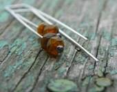 Tiny Firepolished Czech Glass on Modern Sterling Silver Earrings