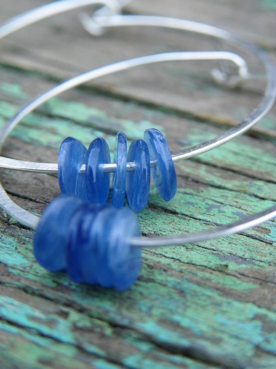 Hammered Sterling Silver Hoops with Kyanite Beads
