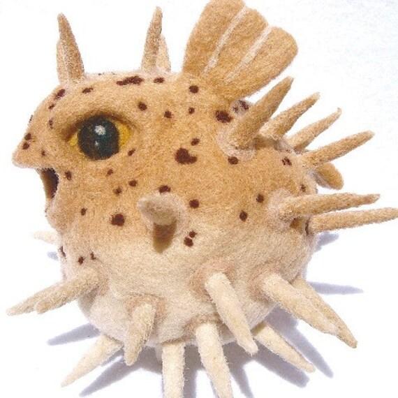 Felt plush puffer fish for Puffer fish stuffed animal