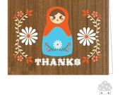 Walnut Nesting Doll Thank You Card