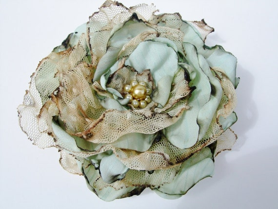 Tea Stained Mint Blue flower and tulle accessory, Shabby Chic, Wedding, Prom