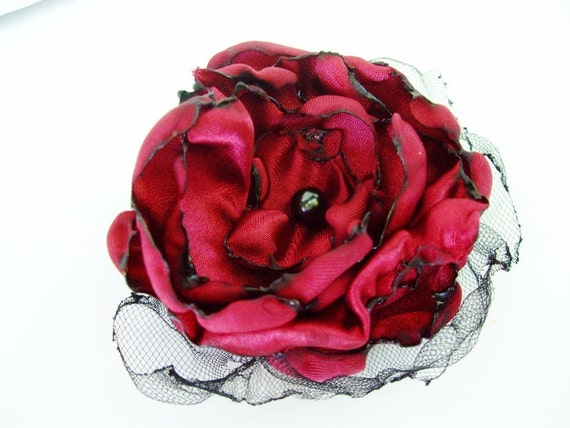 Wedding Hair Flower, Red Flower Accessory, Maternity Sash, Valentine's Wedding