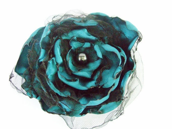 Wedding hair flower, Teal Blue Flower accessory, Made To Order