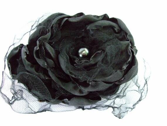 Wedding Hair Flower, Black Flower Accessory, Bridal Sash, Maternity Sash, Bridal Hair Flower