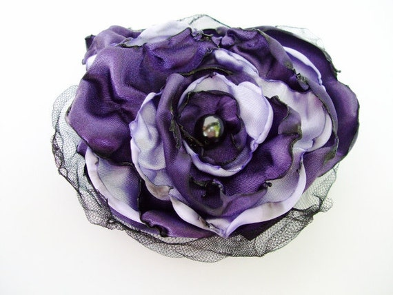 Purple and Lavender Flower Accessory, Hair Clip or Pin Brooch, Wedding, Bridal Sash, Maternity Sash