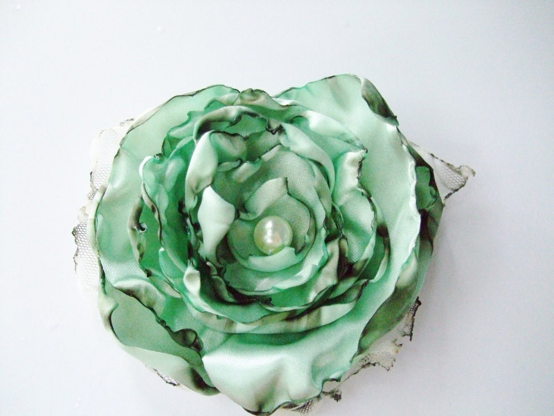 Seafoam Mint Green wedding hair flower