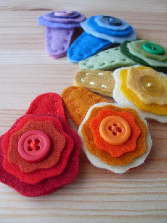 little rainbow flower barrettes