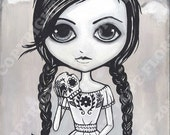 Addicted to Sugar Skulls 16x20 Giclee art print day of the dead sweet tooth girl