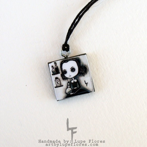 Potion Girl scrabble tile Pendant Necklace art by Lupe Flores gift LF