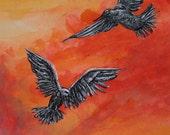 Original- FreeFlying Birds-Painting\/Collage