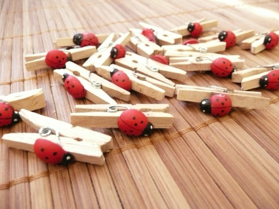 20 Lady bug mini clothes pin